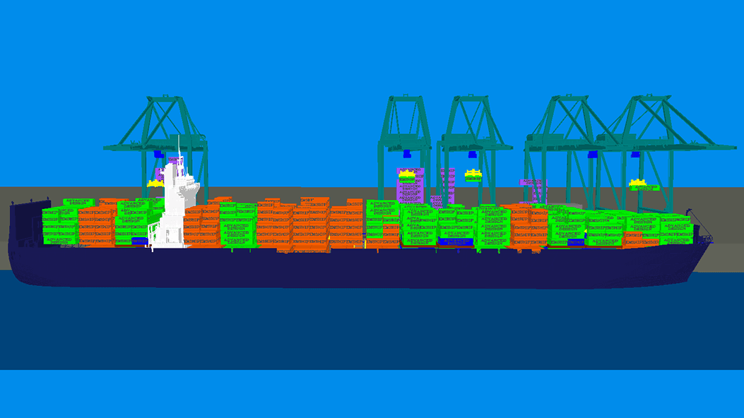 Simulation of a container ship terminal