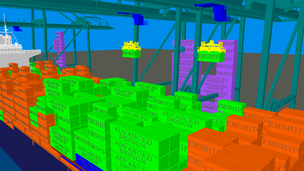 Simulating a loading and unloading of a container ship operation