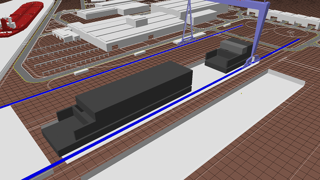 Production simulation of a shipyard